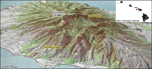 West Maui Mountains holding Oluwalu and Iao Valley together. alohafrom808.com